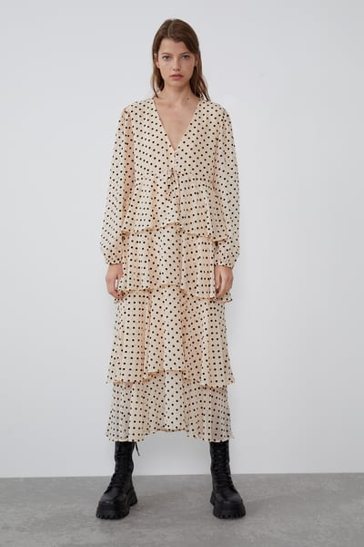 midi dress polka dot zara - Shoppics.com